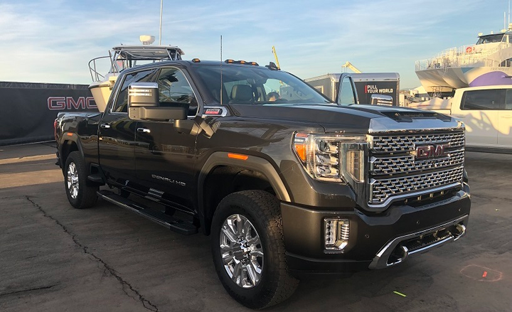 The 2020 GMC Sierra HD has a one-inch-lower bed lift-in height compared to its predecessor model, providing easier loading and fifth-wheel and goose-neck trailer hitching. New are cargo bed side steps on all box styles, located in front of the rear wheel openings that complement integrated CornerSteps in the rear bumper to improve access to the cargo area. - Photo by Mike Antich.