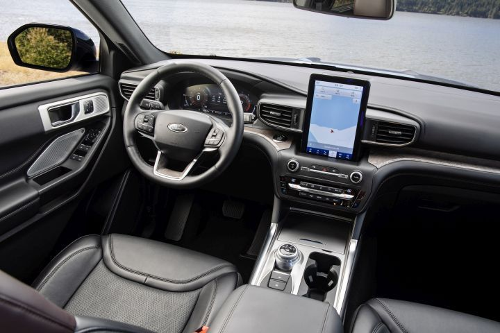 The Platinum trim includes a 10.1-inch portrait touchscreen mounted to the dash.  - Photo courtesy of Ford.