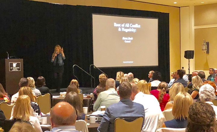 """Dr. Bridget Cooper was the keynote speaker at the breakfast sponsored by the Women in Fleet Management (WIFM), which preceded the official start of the AFLA Conference. The topic of Dr. Cooper's presentation was """"Finding Calm in the Storm.""""  - Photo by Mike Antich."""