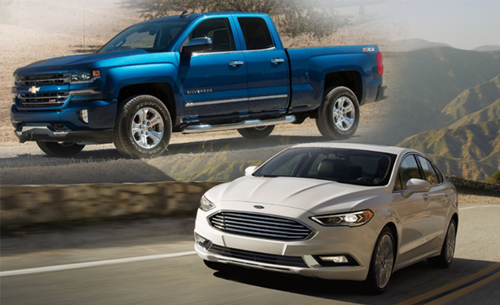 In 2017, the Chevrolet Silverado 1500 (top left) was the winner of the Fleet Truck of the Year award, and the Ford Fusion (bottom right) was selected as the Fleet Car of the Year.