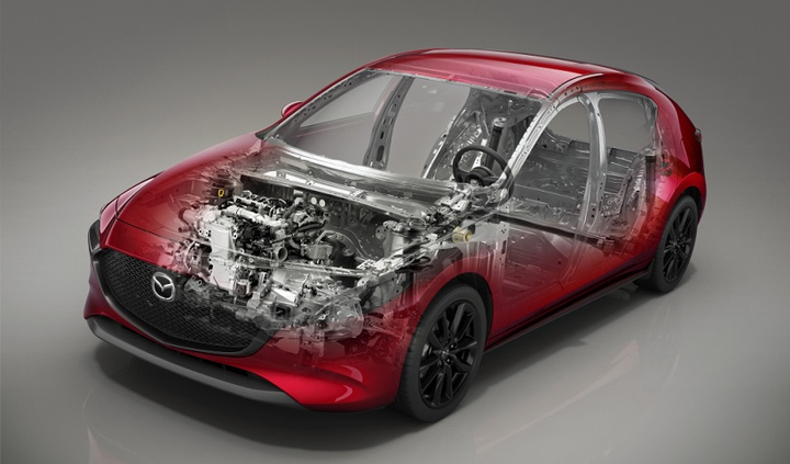 The Mazda3 enginelineup now includes new Skyactiv-X engine technology, which is a combustion engine that combines the advantages of gasoline and diesel engines.  - Photo courtesy of Mazda.