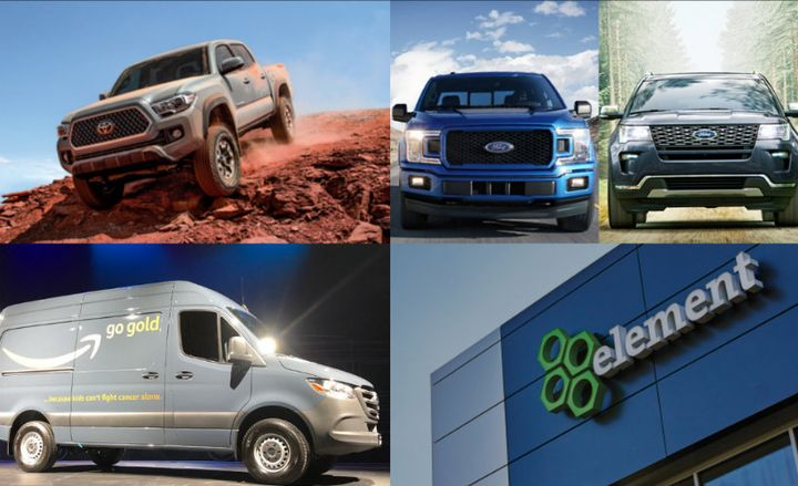 These 10 news items were the most popular in 2018 on AutomotiveFleet.com.  - Photos (clockwise from upper left) courtesy of Toyota, Ford, Element, and Paul Clinton.
