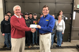Fleet Manager of Year Dmochowsky Presents Scholarship Check