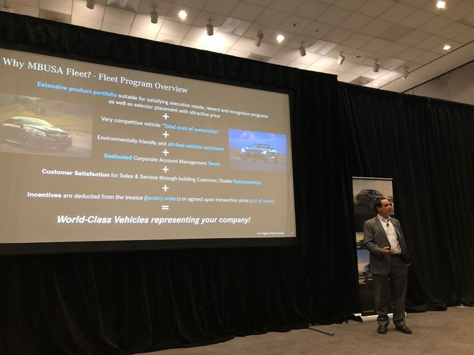 Brian Patnoe, the Mercedes-Benz Western region fleet manager, gives an overview of the 2020 lineup. - Photo by Chris Wolski.