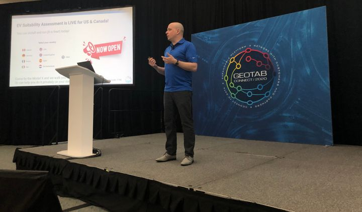Matt Stevens, vice president of Electric Vehicles at Geotab spoke about the company's EVSA tool on stage at Geotab Connect 2020.  - Photo by Andy Lundin.