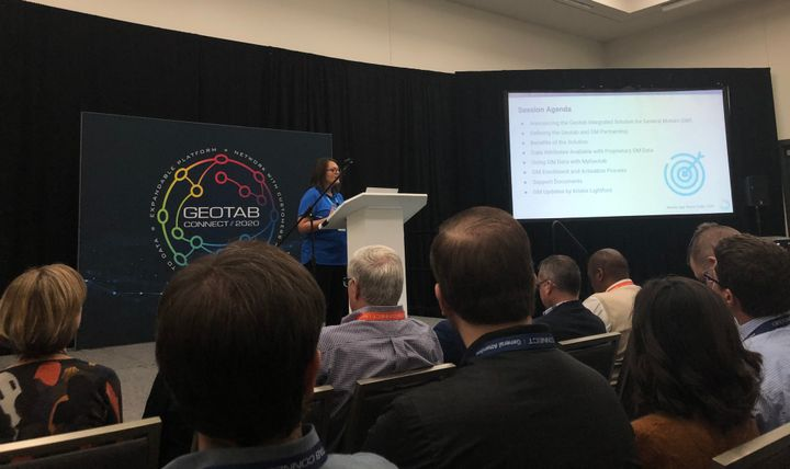 Sherry Calkins, VP, strategic partners at Geotab spoke on the Geotab Integrated Solution for General Motors.  - Photo by Andy Lundin.