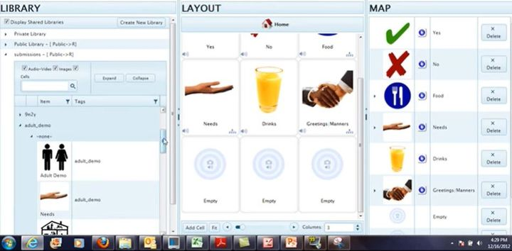 An example of what the web interface of MyTalkTools Workspace looks like.  - Screenshot via MyTalk.