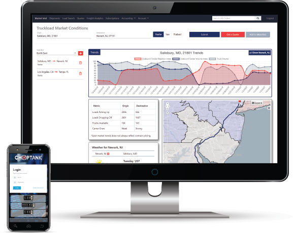 Choptank Transport, a third-party logistics company headquartered on Maryland's Eastern Shore, has launched a new customer-interfacing market intelligence platform called Orbit TI. - Image: Choptank Transport