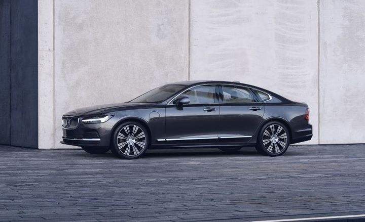 Pictured is the refreshed Volvo S90 Recharge T8 plug-in hybrid in Platinum Grey - Photo courtesy of Volvo.