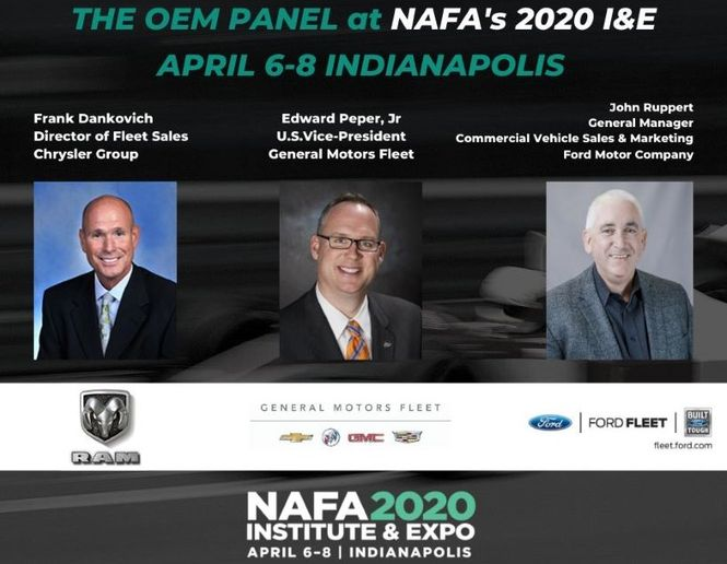 The OEM presentation will feature Frank Dankovich, director of fleet sales at Chrysler Group; Edward Peper, Jr., U.S. vice president at General Motors Fleet; and John Ruppert, general manager - commercial vehicle sales and marketing at Ford Motor Company. - Graphic courtesy of NAFA.