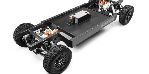 The patent-pending E-Chassis is the same platform shared with the company's B1 sport utility...