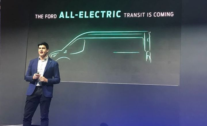 Ted Cannis, global director for electrification for Ford, announces the all-electric Transit at the 2020 Work Truck Show. The all-electric Ford Transit chassis options will include cargo van, cutaway and chassis cab, plus three roof heights and three body lengths. In addition it will include in-vehicle high-speed data architecture and cloud-based services to offer new ways to optimize fleet performance. - Photo by David Cullen.