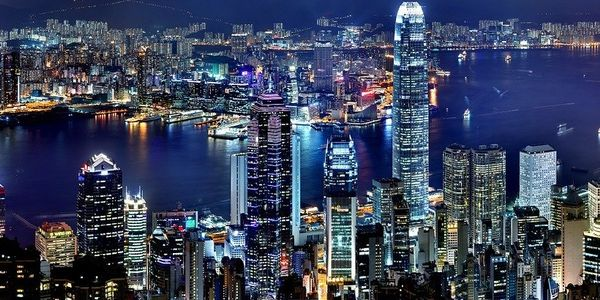 Pictured is the Hong Kong skyline.