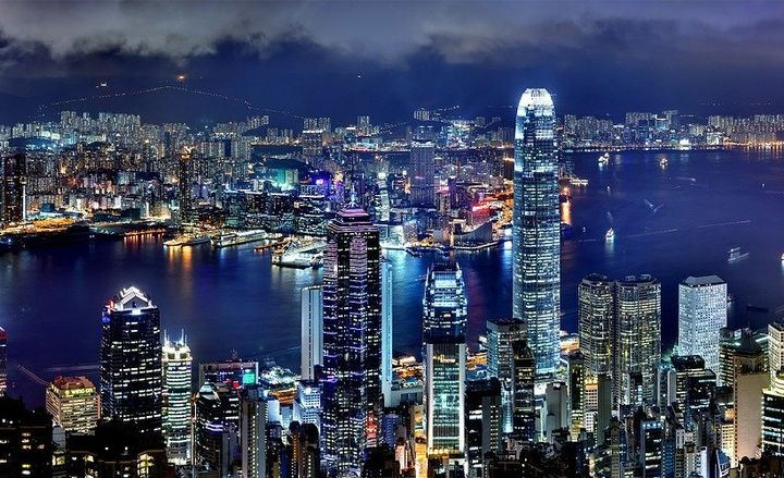 Pictured is the Hong Kong skyline. -