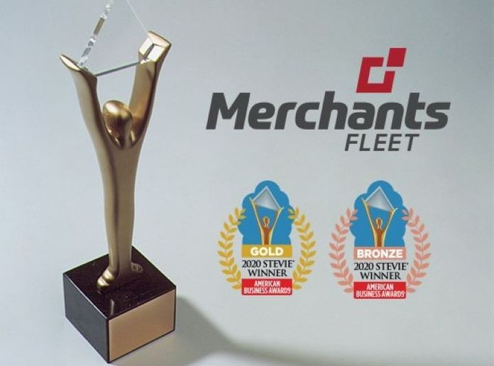 "The company received a gold Stevie for ""Fastest Growing Company of the Year,"" and two bronze Stevies for ""Most Innovative Company of the Year"" for companies up to 2,500 employees as well as ""Achievement in Management"" in recognition of Merchants Fleet CEO Brendan P. Keegan. - Graphic: Merchants Fleet"
