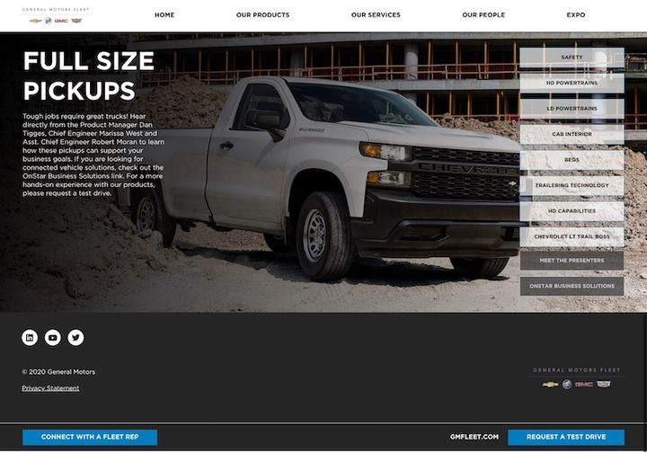 Videos from GM's sales, customer support, product management, and engineering teams are available to educate attendeeson products and services that best served their interest.   - Photo: GM