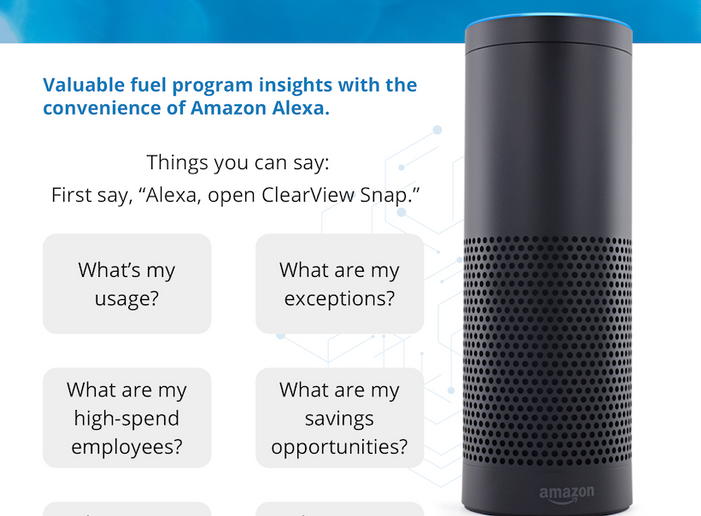 The integration with data analytics platform ClearView Snap will now allow customers to access their information through an interactive conversation with Amazon Alexa. - Screengrab: WEX