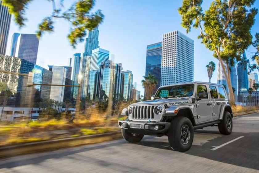The Jeep Wrangler 4xe plug-in-hybrid features a combined 375 hp and 470 lb.-ft. of torque, with...