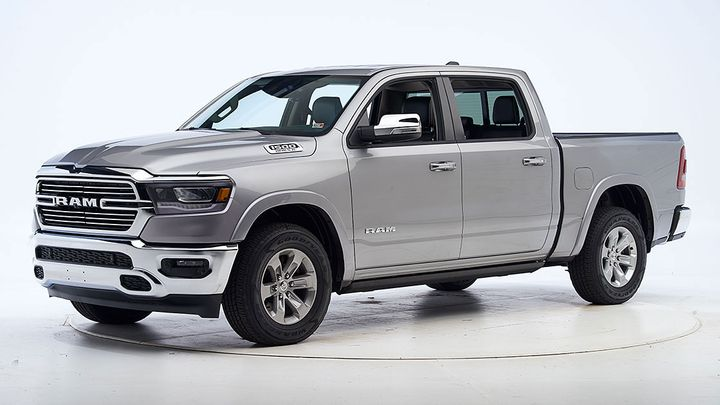 In vehicle-to-vehicle front crash prevention tests, the Ram 1500 avoided collisions at both 12 mph and 25 mph. In most of the vehicle-to-pedestrian tests, it avoided hitting the pedestrian dummy or slowed substantially to mitigate the force of impact. - Photo: IIHS