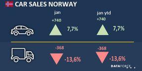 Norwegian Fleet Sales Down 13% in January