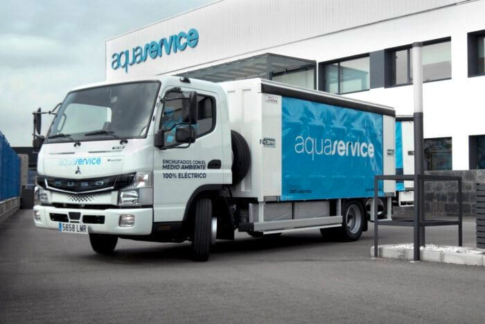 FUSO eCanter battery-electric urban delivery truck. -