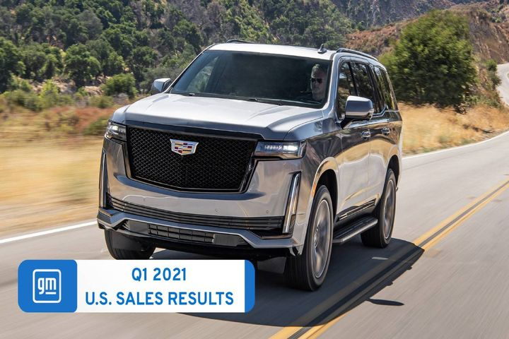 Cadillac and Buick retail deliveries both increased by 43%, while Chevrolet's all-electric Bolt EV delivered its best first-quarter sales ever. - Photo: GM