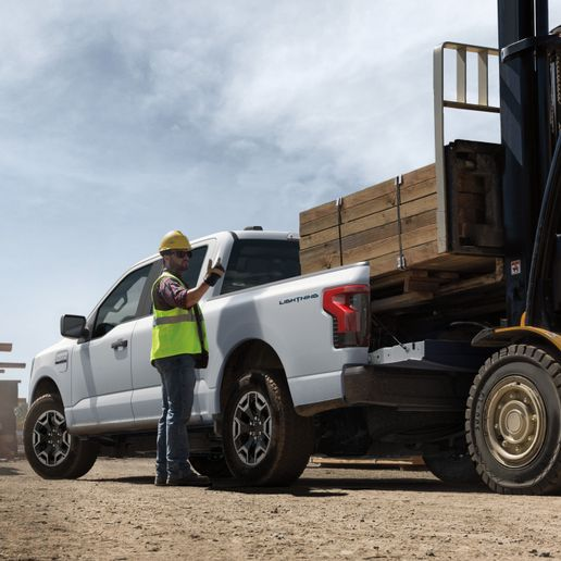 The 2022 All-Electric F-150 Lightning Pro will be offered in a full-size four-door, five-passenger SuperCrew configuration. - Photo: Ford Motor Co.