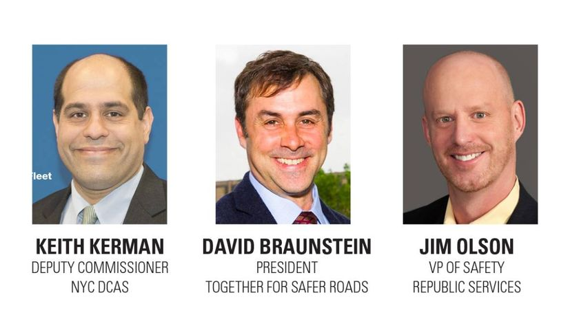 Panelists David Braunstein of TSR, Jim Olson of Republic Services, and Keith Kerman of NYC DCAS...
