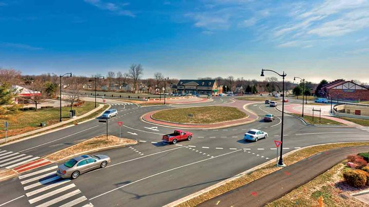 Carmel has over 100 roundabouts — more than any other city in the United States. - Photo courtesy American Structurepoint Inc / Above All Photography.
