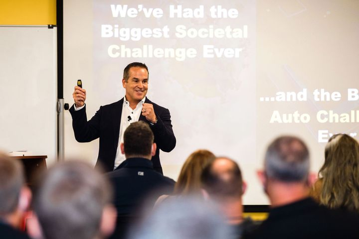 """Merchants Fleet CEO Brendan Keegan provided opening remarks at the summit, which included a continued commitment to the EV market. Keegan says the industry is at a """"sustainability tipping point."""" - Photo courtesyMerchants Fleet"""