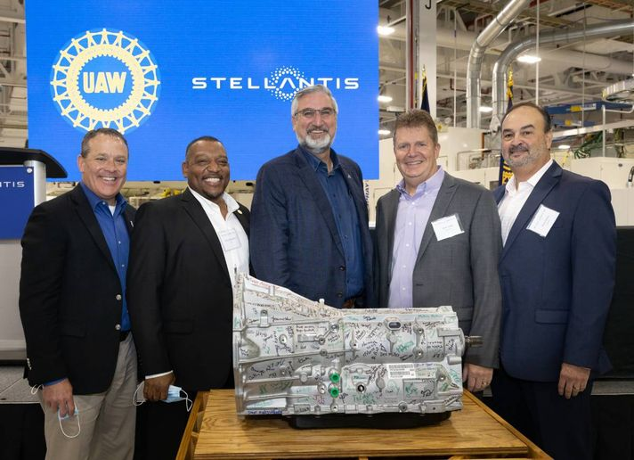 Stellantis leadership Indiana elected officials gathered at the plant to make the announcement. - Photo courtesy of Stellantis