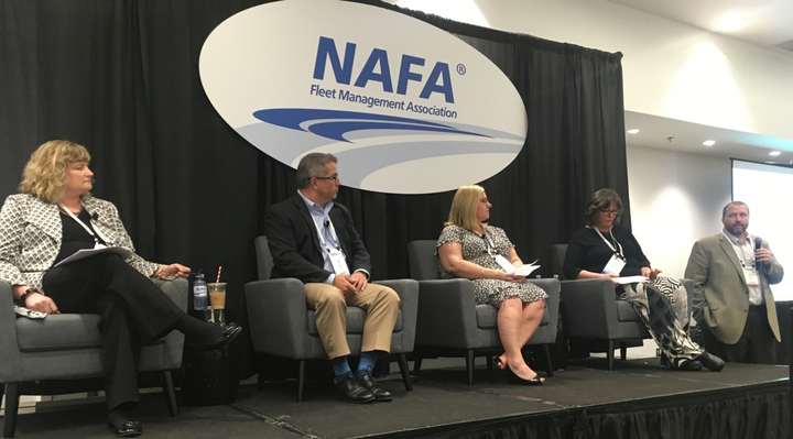 "(from l-r) Barbara Banas, sr. director of procurement, Wheels, Inc.; Alex May, senior manager, fleet, Rollins; Kimberly Fisher, CAFS, global manager, fleet & travel, National Oilwell Varco; and Keri Moran, category manager - mobile equipment, J.R. Simplot Company spoke during the ""Reducing Risk in Fleet Procurement"" educational session. Jack Leffler, assistant VP of client relations, Wheels, Inc. moderated the panel.