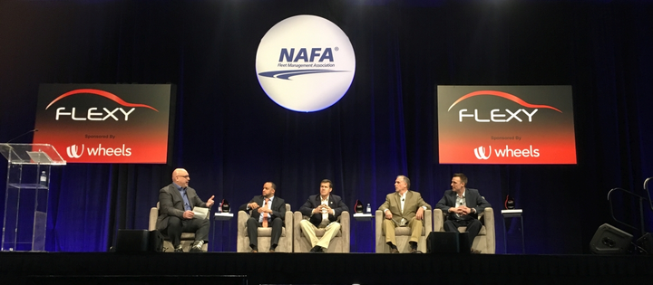 Four 2019 Flexy Award winners were honored during the breakfast panel, on the morning of Tuesday, April 16. (from l to r) Matthew Betz, I&E Curriculum Content Committee Chair, NAFA Fleet Management Association moderated the panel ofMario Guzman, CAFM, director of support services, City of West Palm Beach, Fla.; Robert Stine, CAFM, director-fleet management department, Hillsborough County, Fla.;Dave Dahn, CAFM, corporate fleet program manager, Erie Insurance Group; and2018 FLEXY Award Winner, Adam Orth, CAFM, fleet services manager, General Mills.  - Photo by Andy Lundin.