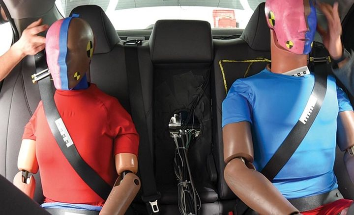 Seat belts in the back can sometimes cause chest injuries, according to an IIHS study.  - Photo courtesy of IIHS