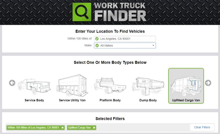 Interest in vans and service bodies remained strong in 2018, according to an online dealer portal that lists commercial vehicles.  - Screenshot via Work Truck Solutions.