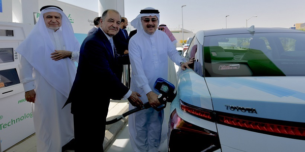 The new fueling station combines the knowledge and technological capabilities of  Saudi Aramco,...