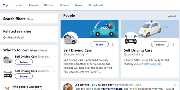 A recent analysis of nearly 400,000 Twitter posts about self-driving car technology found that...