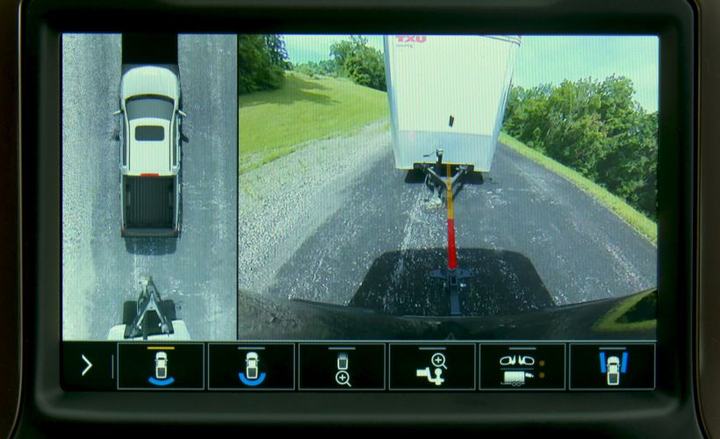 A new Hitch View on the 2019 Silverado helps drivers line up for a trailer hook-up.
