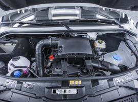 A 2.1-liter, turbocharged four-cylinder diesel engine powers the Mercedes Benz Sprinter Worker cargo van.