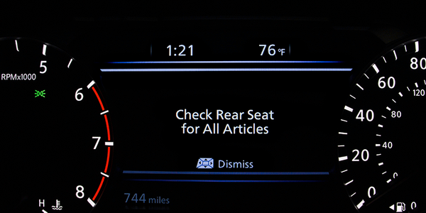Nissan's rear-seat alerting system uses the vehicle's horn to let drivers know they may have...