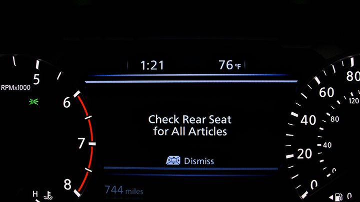 Nissan's rear-seat alerting system uses the vehicle's horn to let drivers know they may have left something on the seat.  - Photo courtesy of Nissan.