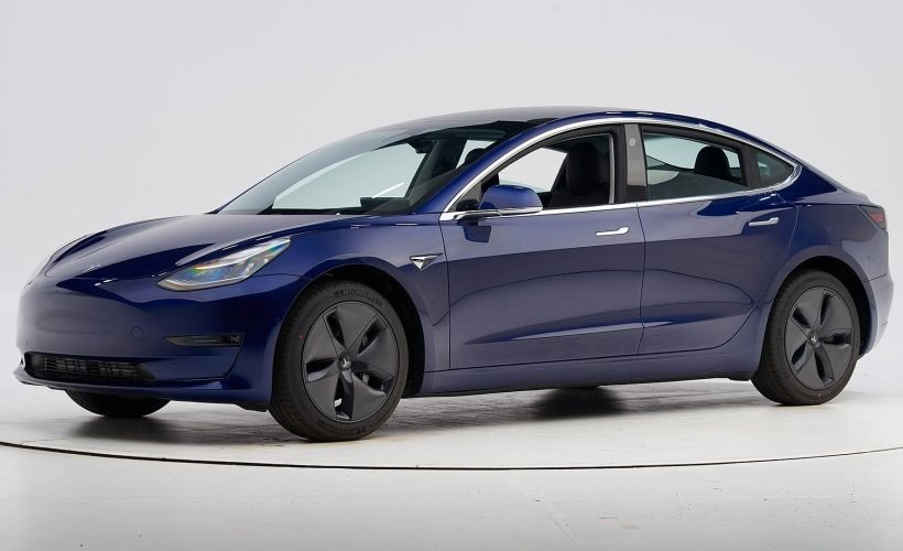 An affordable sedan, the Model 3 is an all-electric plug-in vehicle. IIHS engineers put it through the paces in six crashworthiness tests, where it earned good ratings across the board. - Photo courtesy of IIHS.