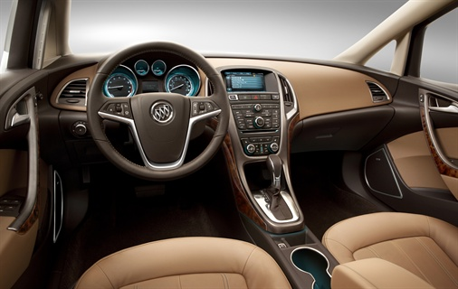 The 2012-MY Buick Verano's interior features noise-canceling technologies, leatherette as standard, and IntelliLink as standard.
