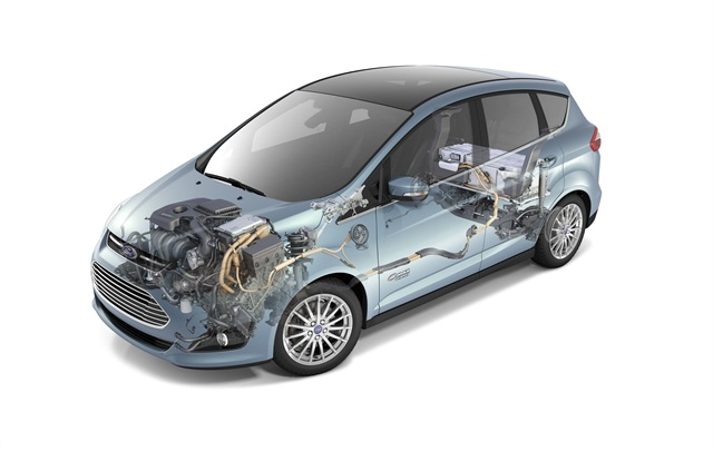 A cutaway image of the 2013-MY C-MAX Energi plug-in hybrid from Ford.