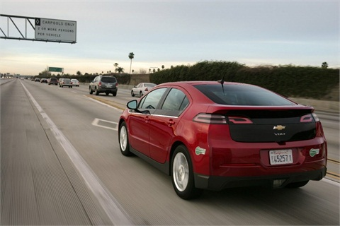 The all-electric vehicle range of the 2013 Chevrolet Volt will be 38 miles on a single charge, providing owners with a three-mile EV range increase from the 2012 model. Models sold in commuter-congested California will have a Low Emissions Package that qualify for carpool lanes regardless of the number occupants in the Volt.