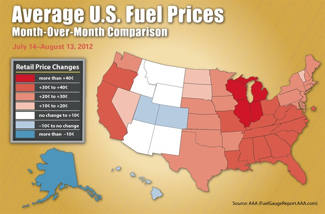 The chart above details gas price differences on a regional basis between July 14 and August 13, 2012. Source: AAA