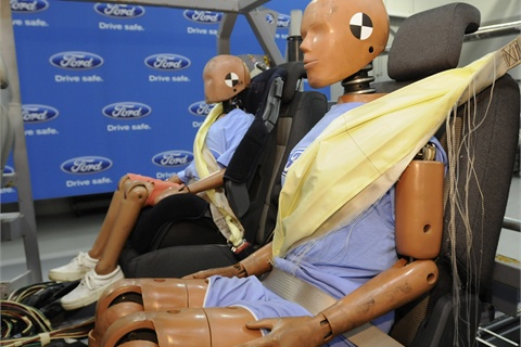 Ford's rear inflatable seat belts during a crash test.
