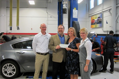 (L-R) Craig Hood, financial aid counselor; Ken Meyer, director of Major Gifts and Planned Giving; Theresa Belding, senior manager – Fleet Services for Forest Pharmaceuticals; and Lisa Geringer, senior fleet administrator for Forest Pharmaceuticals.