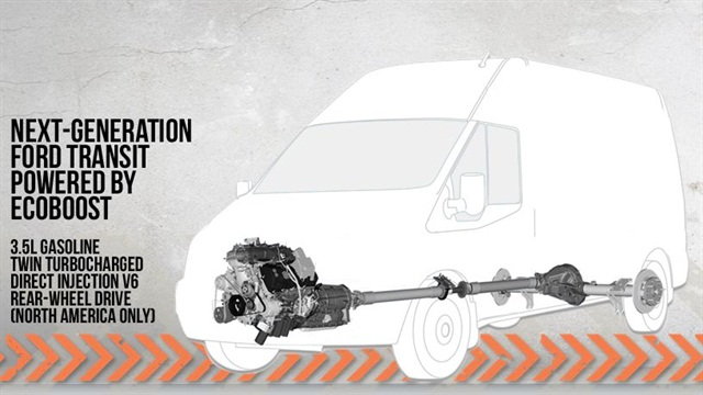 The all-new 2013-MY Transit commercial van will come with Ford's 3.5L EcoBoost V-6 engine.