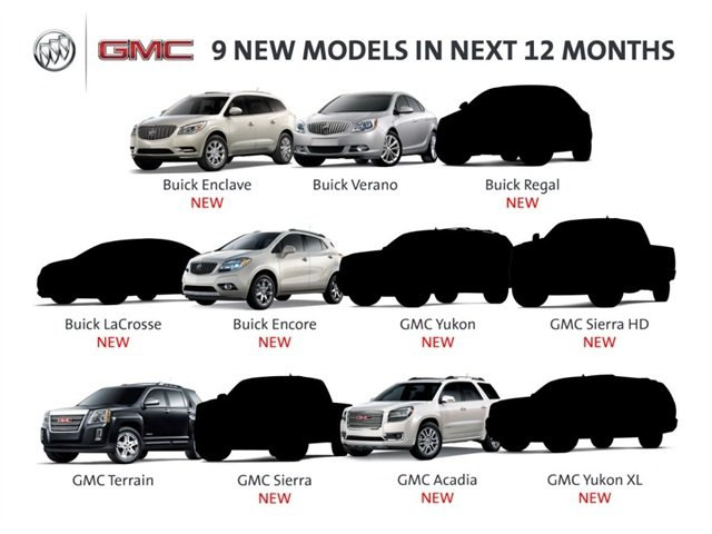 The nine new Buick and GMC models that GM plans to introduce within the next twelve months.